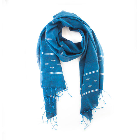 Fine Cotton Indigo Scarf