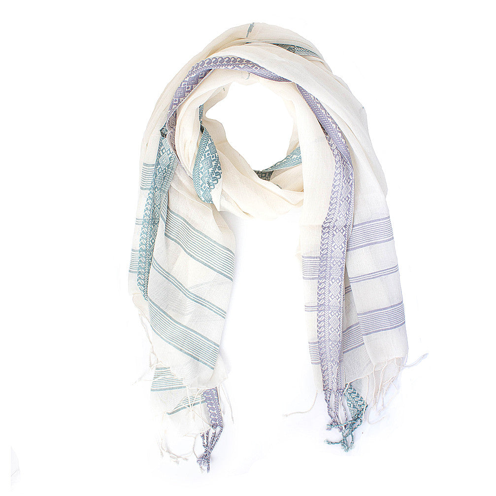 Fine Cotton with Border Scarf