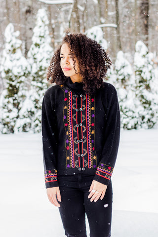 Short Embroidered Alpaca Sweater