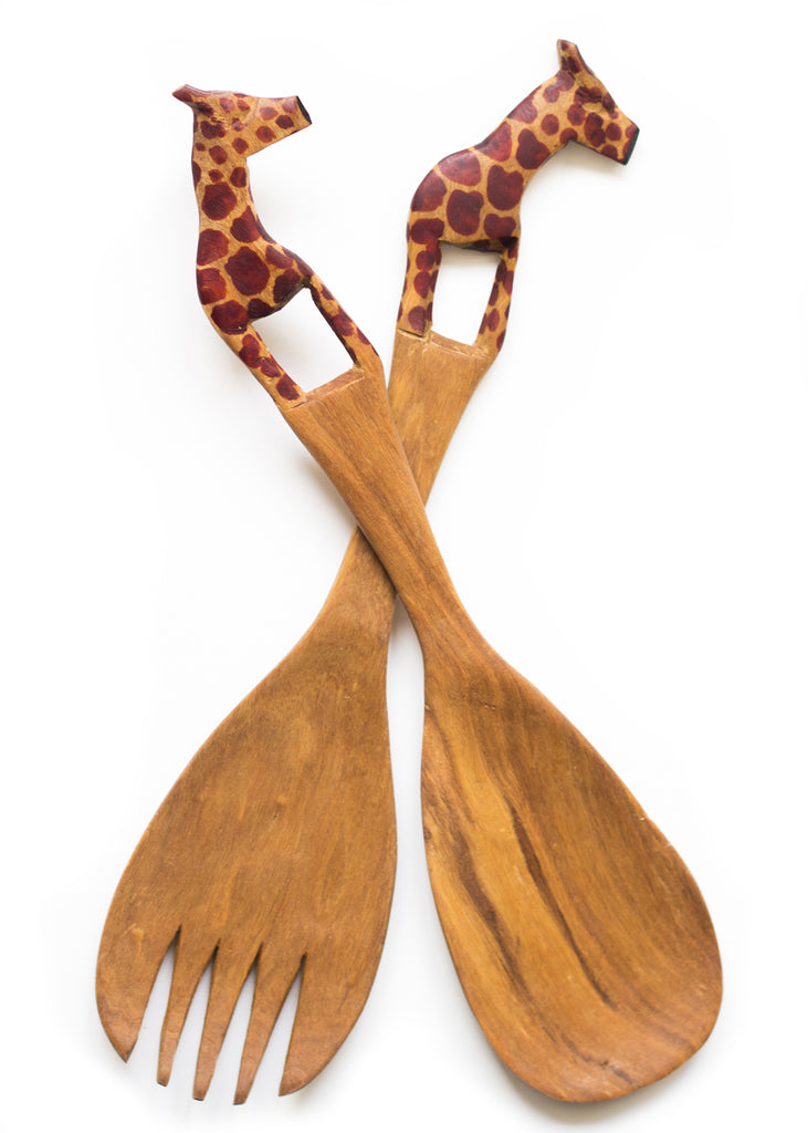 Rosewood Animal Salad Server Set