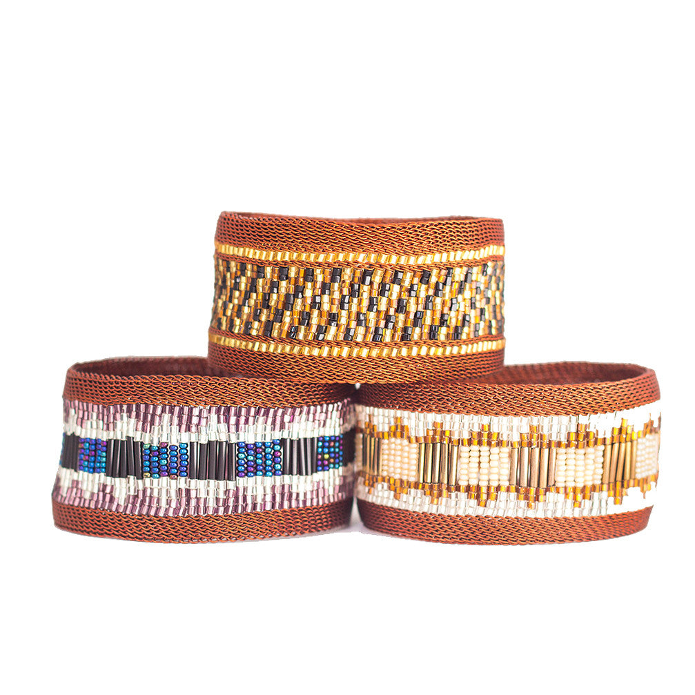 Wide Copper Beaded Bangles