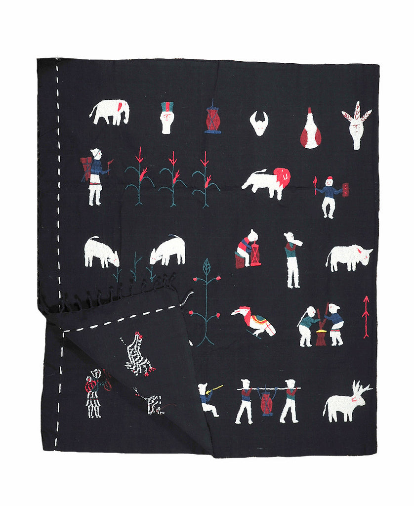 Black Myanmar Throw