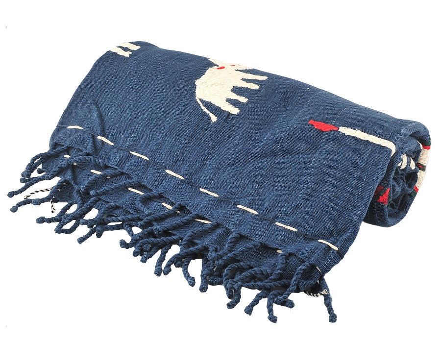 Blue Myanmar Throw