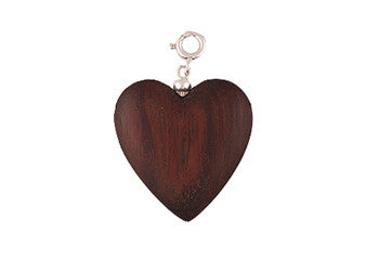 Dark Wood Heart Charm