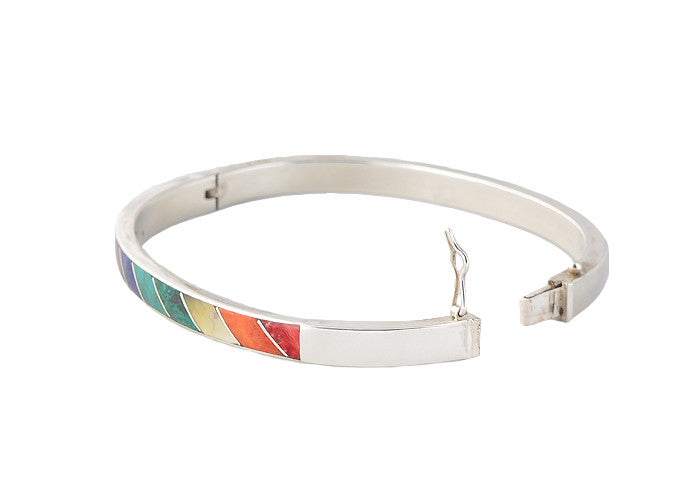 Pure Art Rainbow Stone Bangle - Diagonal