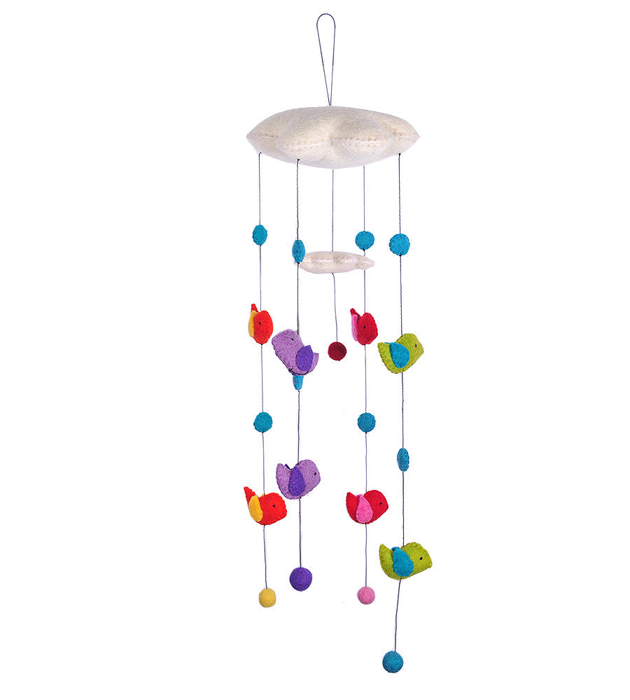 Felt Cloud Mobile with Birds