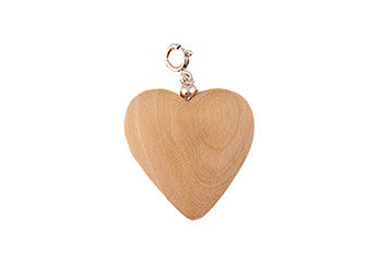 Blonde Wood Heart Charm