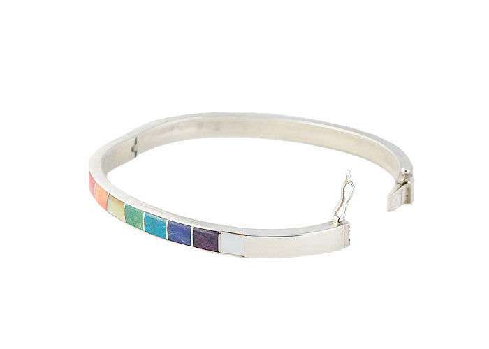 Pure Art Rainbow Stone Bangle- Rectangle