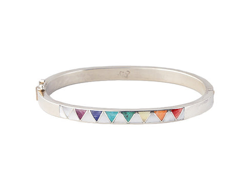 Pure Art Rainbow Stone Bangle- Triangle