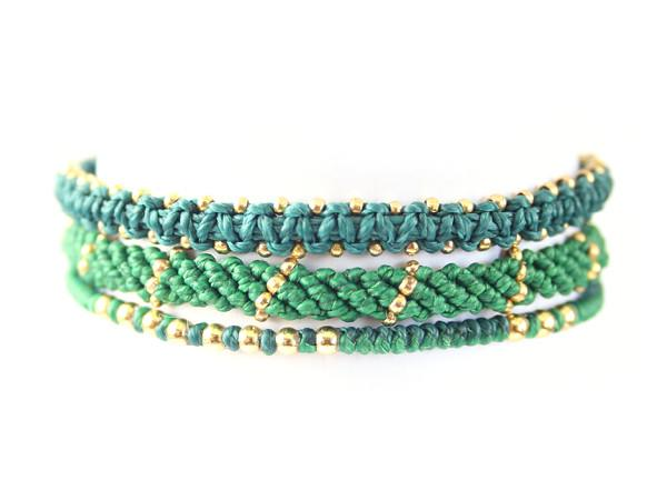 fair trade jewelry bracelets set of 3 green
