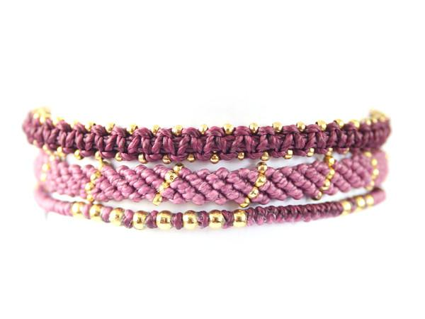 fair trade jewelry bracelets set of 3 purple