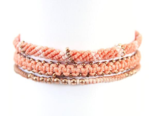fair trade jewelry bracelets set of 3 peach