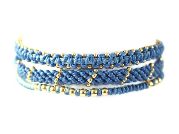 fair trade jewelry bracelets set of 3 dark blue
