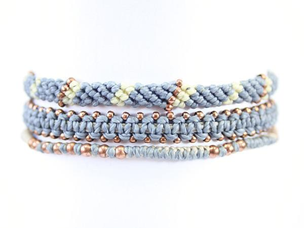 fair trade jewelry bracelets set of 3 gray blue