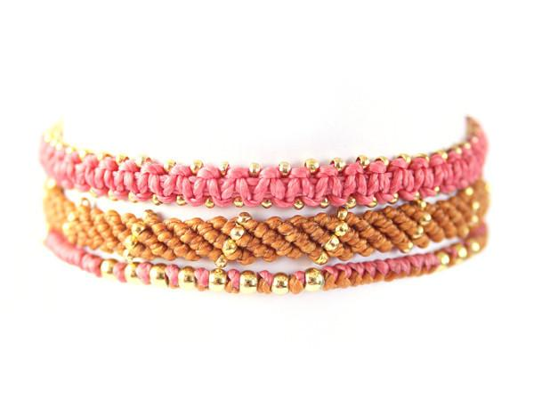 fair trade jewelry bracelets set of 3 fuschia