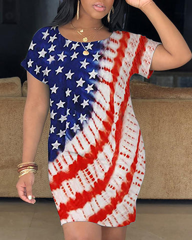 Flag Print Short Sleeve Casual Dress