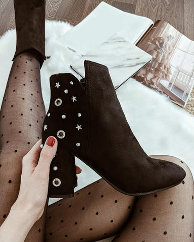 Star Print Chunky Ankle Boots