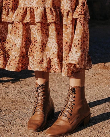 Lace-Up Chunky Heel Boots