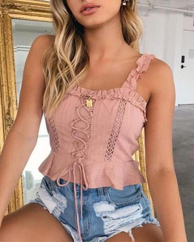 Solid color lace stitching square collar fashion camisole