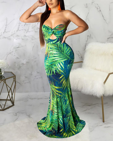 Leaf Print Off Shoulder Mermaid Dress