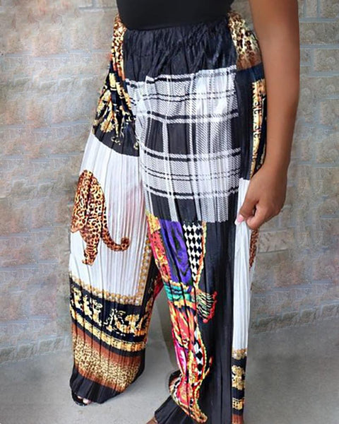 Mixed Print Ruched Wide Leg Casual Pants