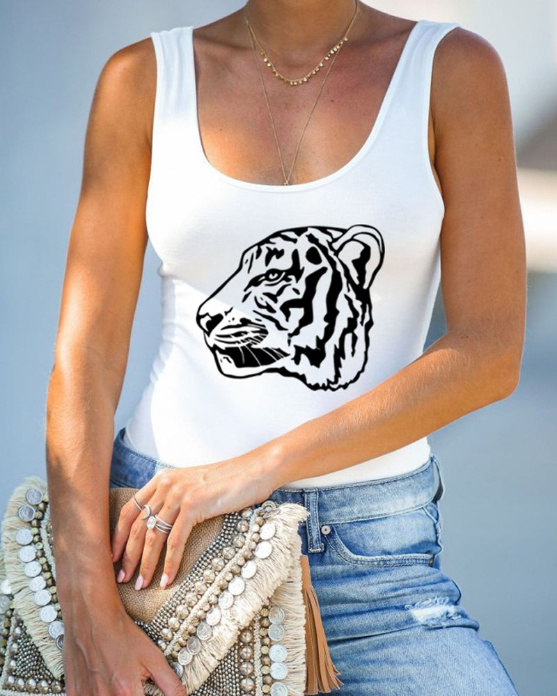 Casual Tiger Print Tank Top