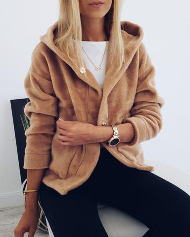 Hooded Solid Long Sleeve Pocket Fluffy Coat