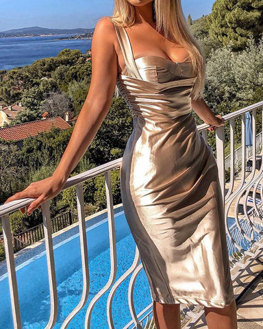 Metal Color Sweetheart Neck Midi Dress