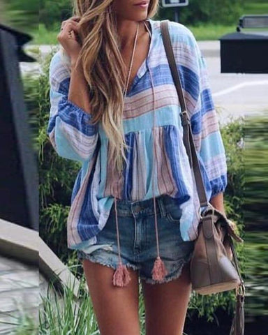 V-neck large trumpet sleeve short print top fringed loose t-shirt
