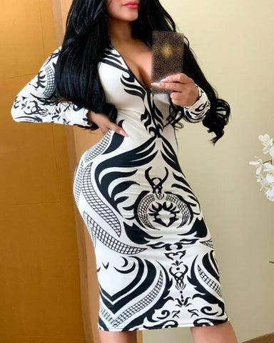 Print Zipper Detail Bodycon Dress