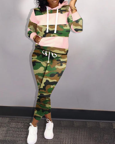 Camouflage Colorblock Drawstring Design Hooded Top & Pant Sets