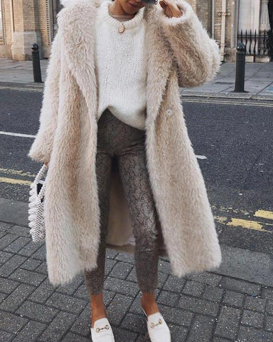 Turn-Down Collar Faux Fur Coat