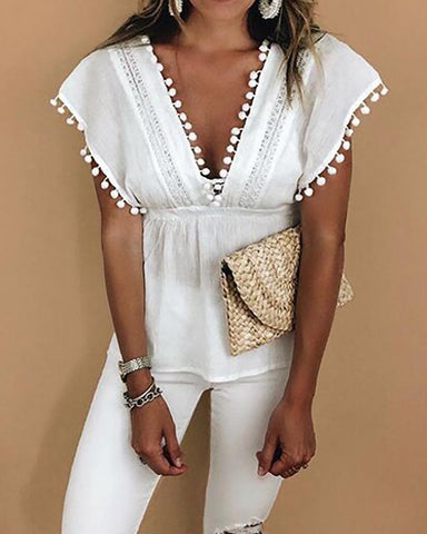 V-Neck Pom Poms Lace Stitching Blouse