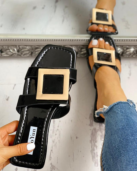 Open Toe Buckled Flat Sandals