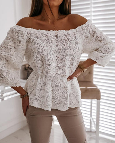 Off Shoulder Floral Applique Top