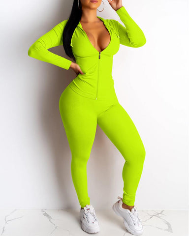 Plunge Hooded Zipper Sporty Top & Pant Sets