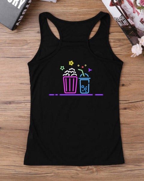 Summer Casual Drink Print Tank Top