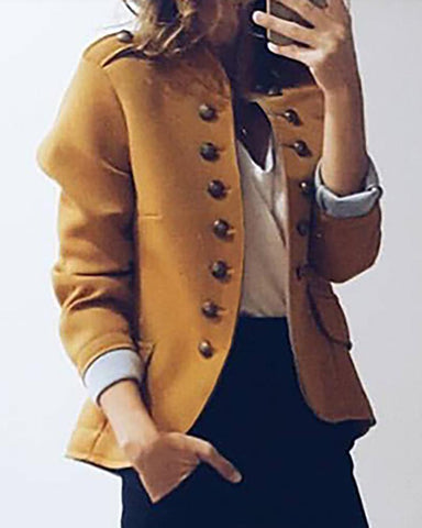 Casual Long Sleeve Button Blazer Coat