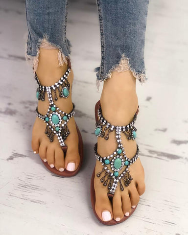 Boho Style Shiny Embellished Toe Post Flat Sandals