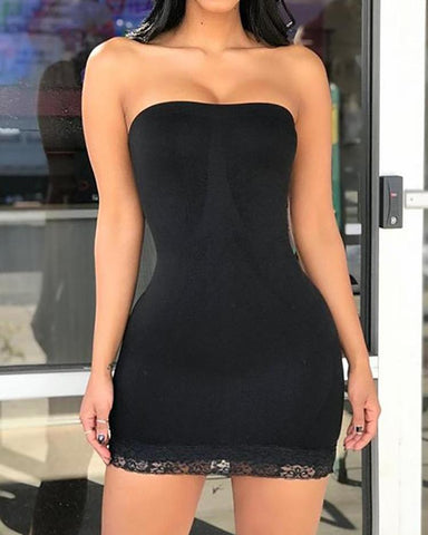 Sexy Lace Guipure Bodycon Tube Dress