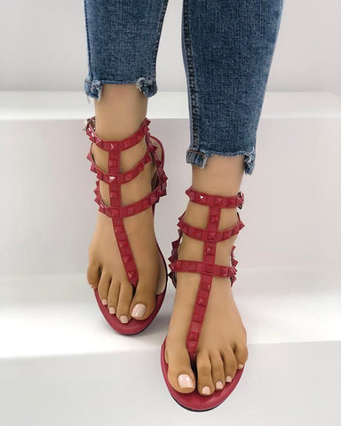 Rivet Multi Strap Toe Post Flat Sandals