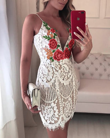 Embroidered Lace Crochet Overlay Mini Slip Dress