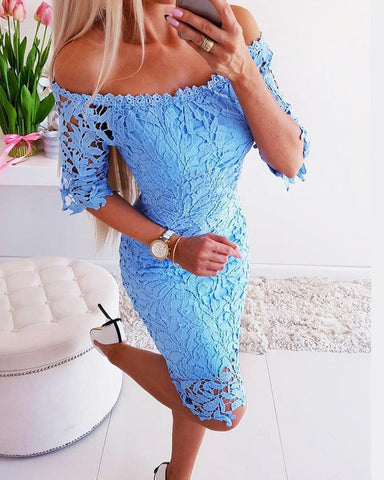 Off Shoulder Lace Mini Dresss