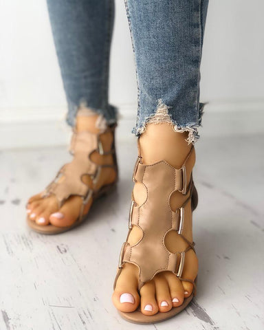 Hollow Out Toe Post Flat Gladiator Sandals
