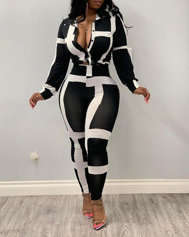 Colorblock Striped Buttoned Top & Pants Sets
