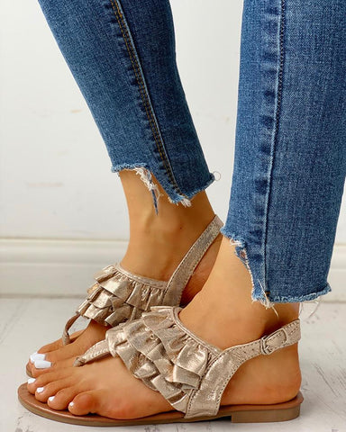 Toe Post Ruched Frill Hem Casual Sandals