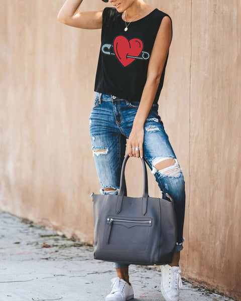 Casual Love Print Tank Top