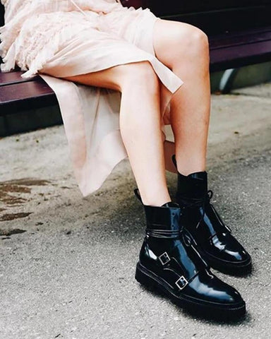 Solid Polished Strap Biker Boots