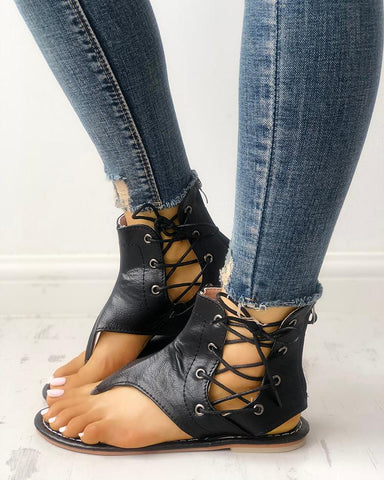 Lace-up Cutout Toe Post Flat Gladiator Sandals