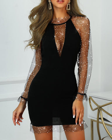 Mesh Sequins Bodycon Party Dress
